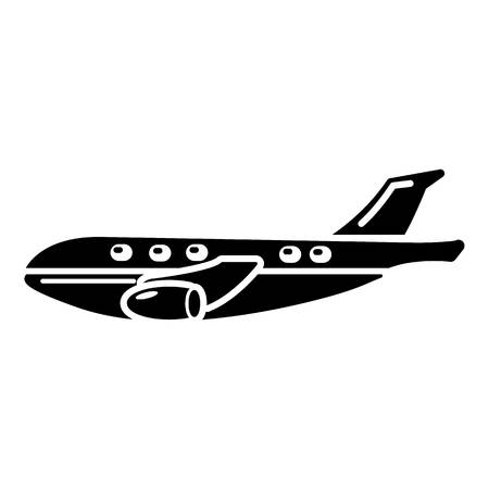 Passenger airplane icon, simple black style.