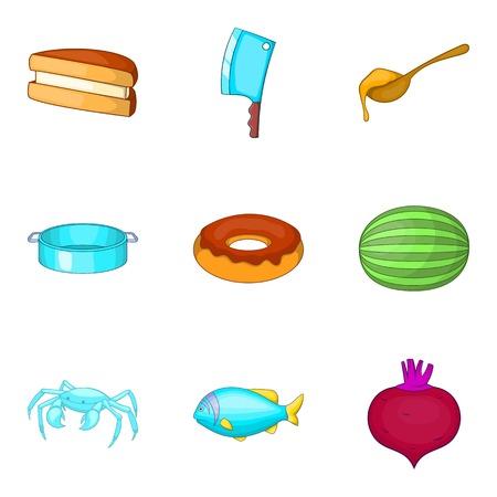 Culinary experience icons set, cartoon style. Illustration