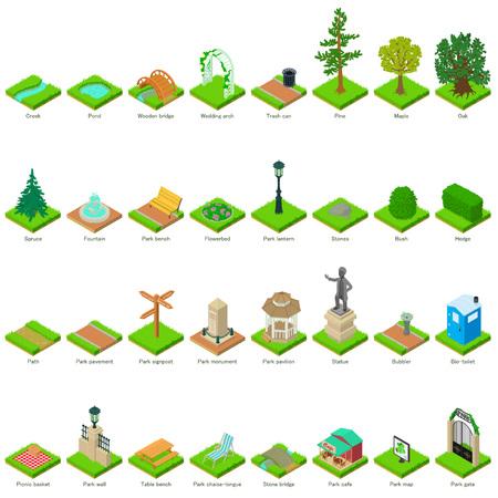 Park nature elements icons set, isometric style. Vettoriali