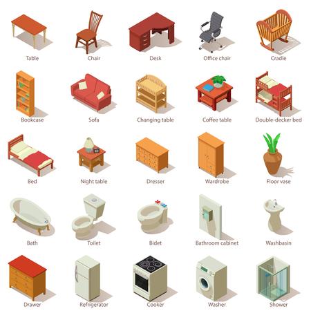 Domestic furniture icons set, isometric style. Illustration