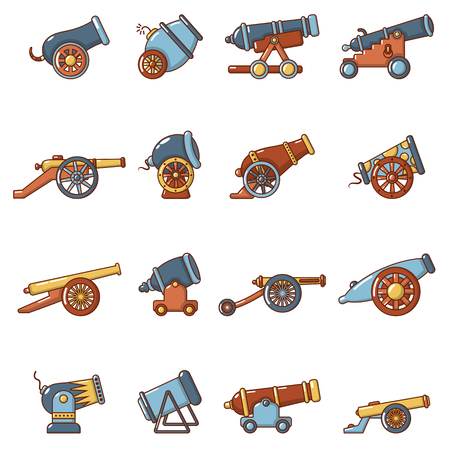 Cannon retro icons set, cartoon style.