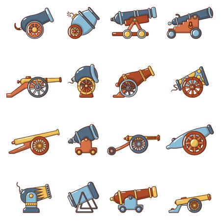 Cannon retro icons set, cartoon style. Illustration