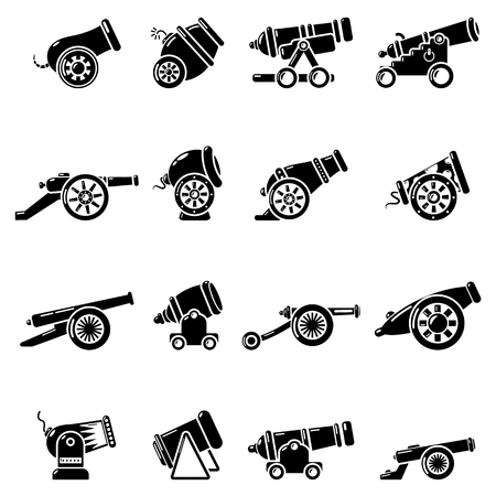 Cannon retro icons set, simple style.