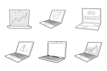 Laptop icon set. Outline set of laptop vector icons for web design isolated on white background.