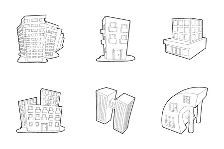 Skytower icon set, outline style