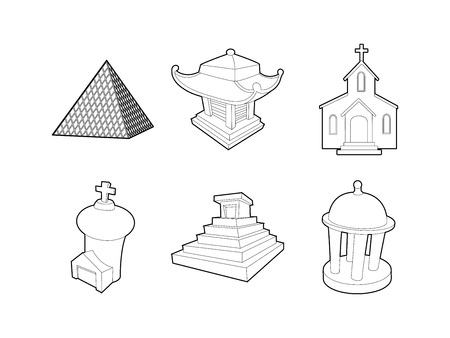 Outline set of temple vector icons for web design isolated on white background.