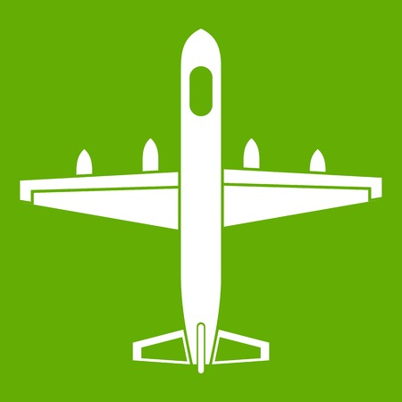 Military plane icon isolated on green background.