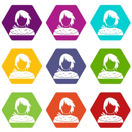 Male shorn icon set many color hexahedron isolated on white vector illustration Çizim