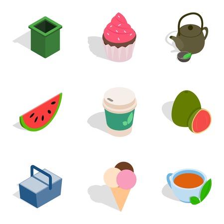 Culinary dessert icons set. Isometric set of 9 culinary dessert vector icons for web isolated on white background Illustration