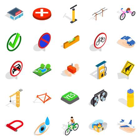 Isometric set of 25 intersection vector icons for web isolated on white background.