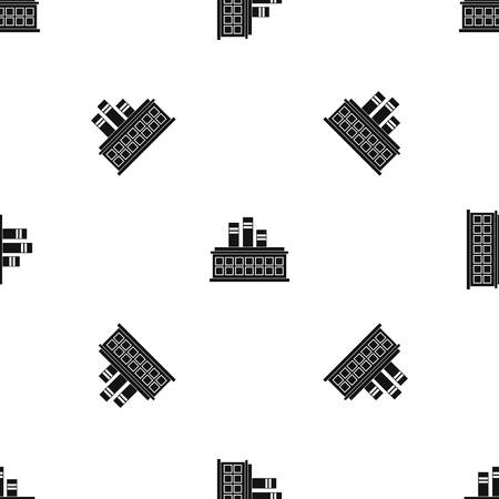 Oil refinery plant pattern repeat seamless in black color for any design vector geometric illustration.