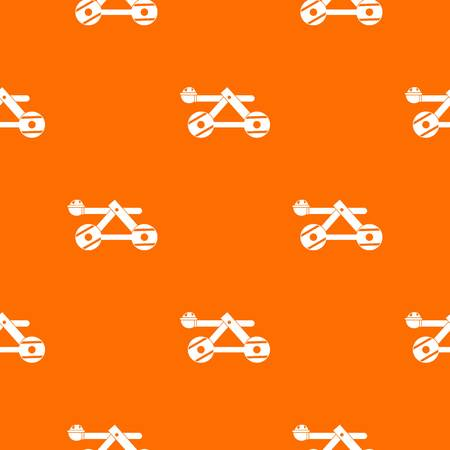 Ancient wooden catapult pattern repeat seamless in orange color for any design vector illustration. Çizim