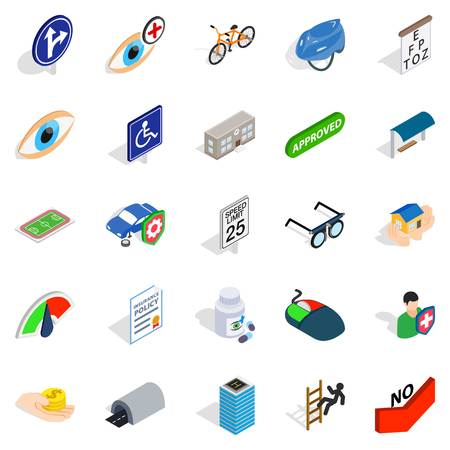 Isometric set of 25 junction vector icons for web isolated on white background.