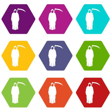 Death with scythe icon set many color hexahedron isolated on white vector illustration.