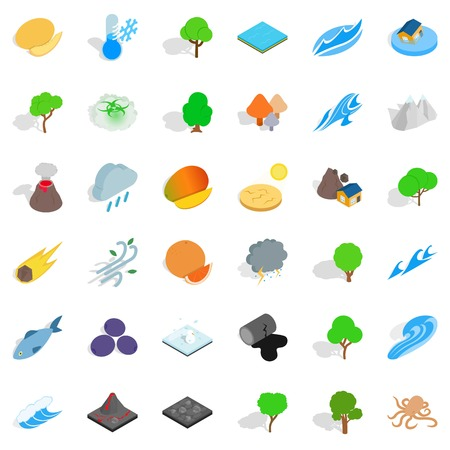 Isometric style of 36 forest vector icons for web isolated on white background. Illustration