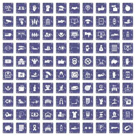 100 hand icons set in grunge style sapphire color isolated on white background vector illustration. Illustration