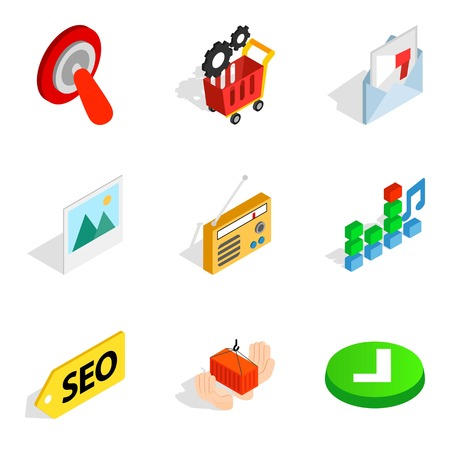 Isometric set of 9 cyber education vector icons for web isolated on white background.
