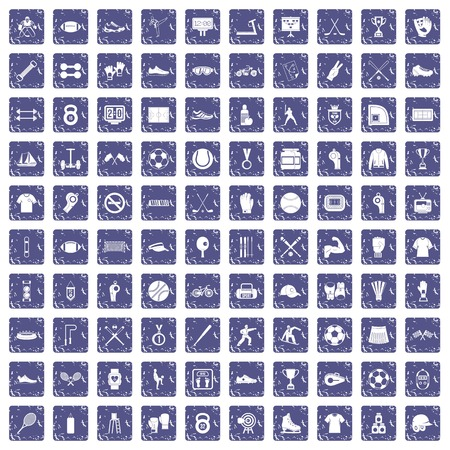 100 athlete icons set in grunge style sapphire color isolated on white background vector illustration. Stock Illustratie
