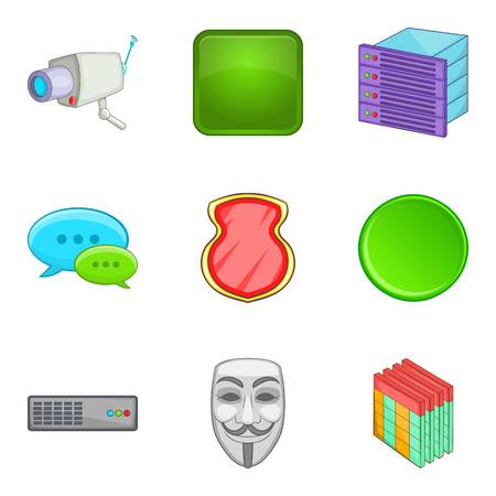Cartoon set of 9 cyber anonymity vector icons for web isolated on white background.