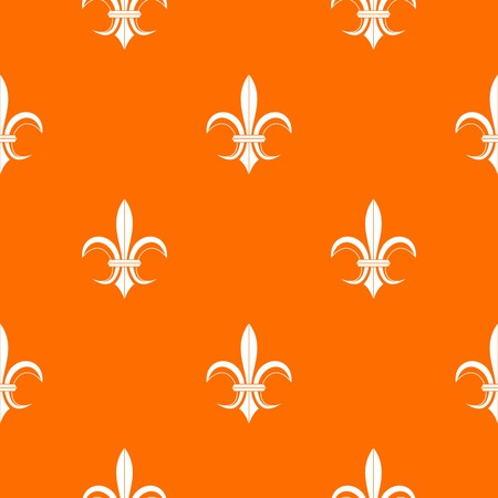 Lily heraldic emblem pattern repeat seamless in orange color for any design. Vector geometric illustration.