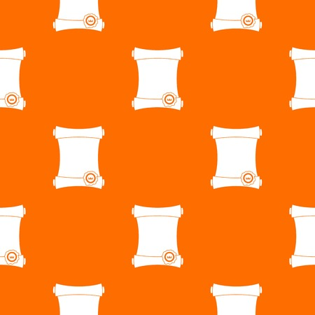 Paper scroll with wax seal pattern repeat seamless in orange color for any design. Vector geometric illustration
