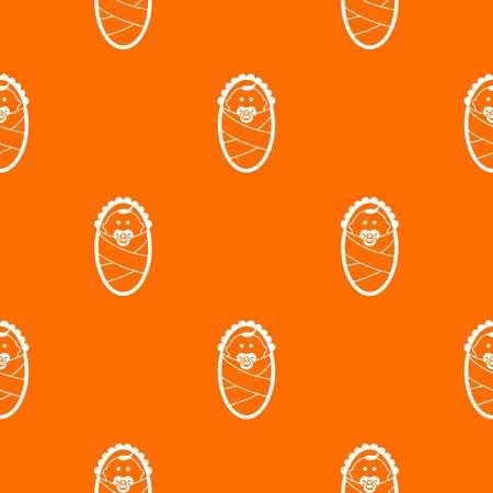 Newborn pattern repeat seamless in orange color for any design. Vector geometric illustration Illustration