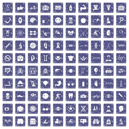 100 health icons set in grunge style sapphire color isolated on white background vector illustration. Stock Illustratie