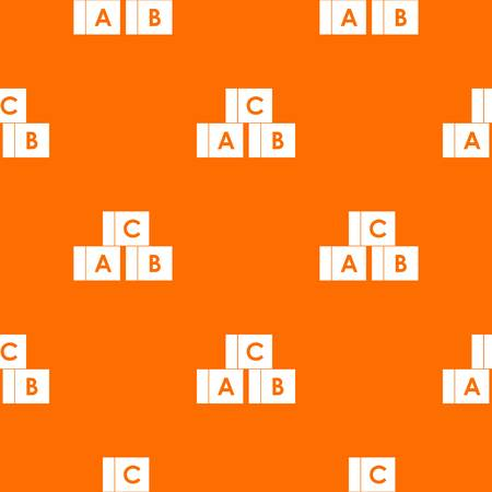 Alphabet cubes with letters A,B,C pattern repeat seamless in orange color for any design. Vector geometric illustration