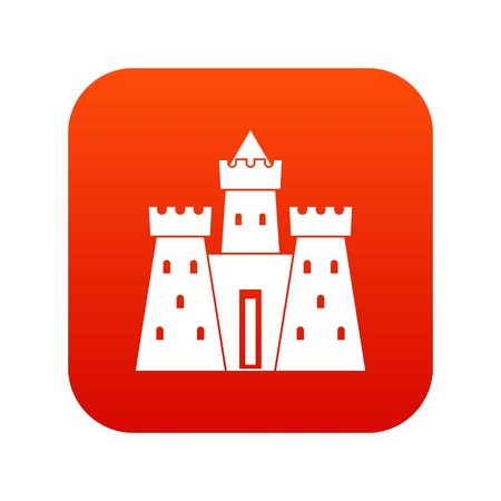 Ancient castle palace icon digital red for any design isolated on white vector illustration Illusztráció