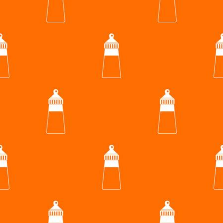 Baby milk bottle pattern repeat seamless in orange color for any design.