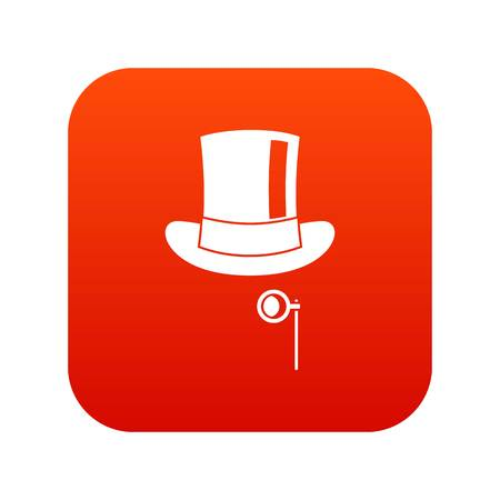 Hat with monocle icon digital red for any design isolated on white vector illustration.