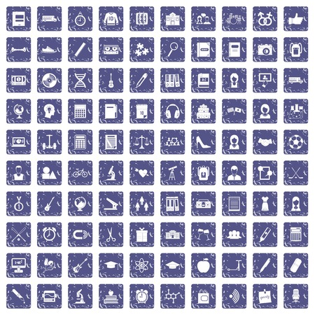 100 high school icons set in grunge style sapphire color isolated on white background vector illustration.