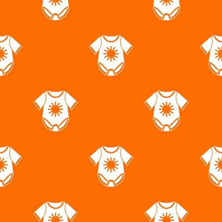 Baby bodysuit pattern repeat seamless in orange color for any design. Vector geometric illustration