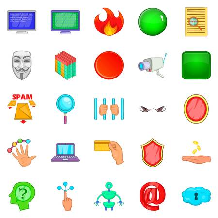 Cyber spying icons set. Cartoon set of 25 cyber spying vector icons for web isolated on white background