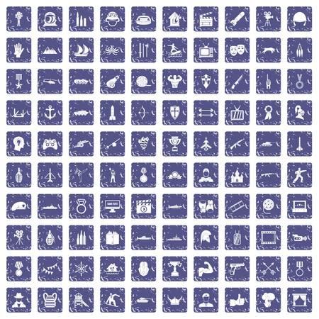 100 hero icons set grunge sapphire 일러스트