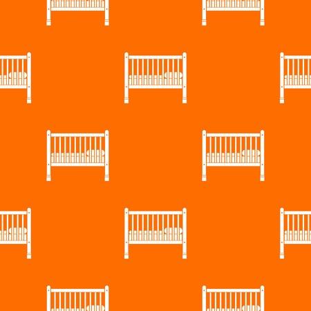 ベビーベッドパターンは、任意のデザインのためのオレンジ色でシームレスに繰り返します。ベクトル幾何学的イラスト