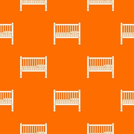 Baby bed pattern repeat seamless in orange color for any design. Vector geometric illustration Ilustração