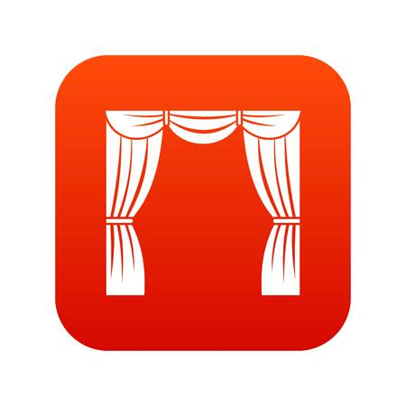 Curtain on stage icon digital red
