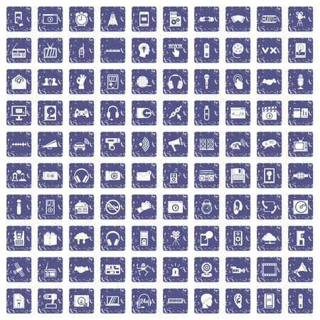 100 audio icons set grunge sapphire