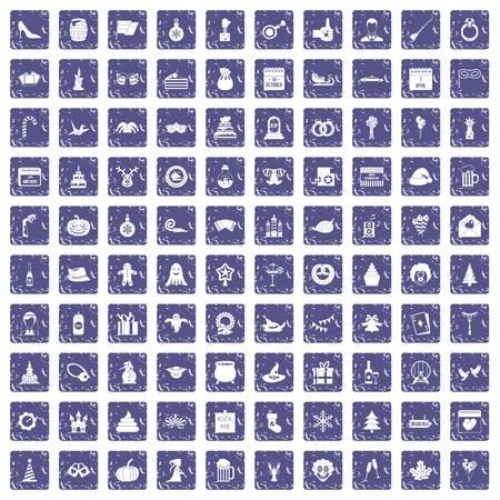 100 holidays icons set grunge sapphire