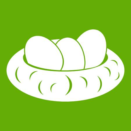 Eggs in the nest icon white isolated on green background. Vector illustration Illustration