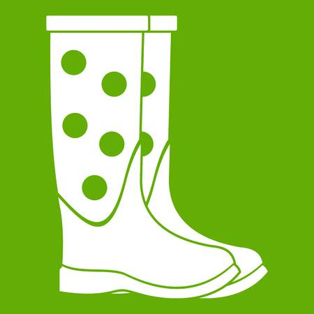 Rubber boots icon white isolated on green background. Vector illustration