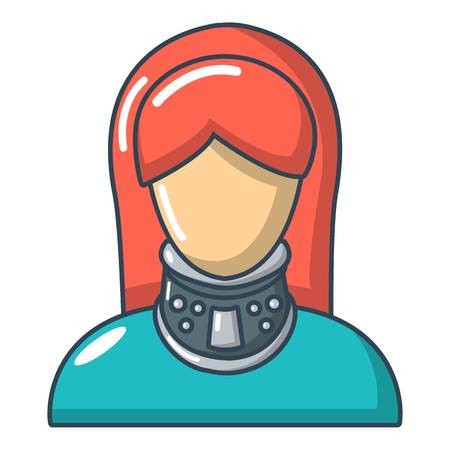 Cervical retainer icon, cartoon style illustration.