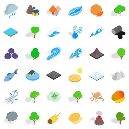 Rain icons set, isometric style