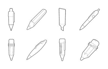 Pen icon set, outline style.