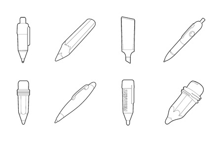 Pen icon set, outline style.