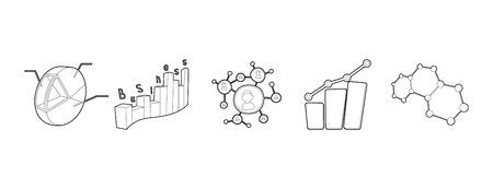 Diagram icon set, outline style.