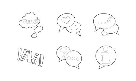 Speech icon set, outline style.