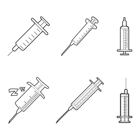 Syringe icon set. Outline set of syringe vector icons for web design isolated on white background Çizim
