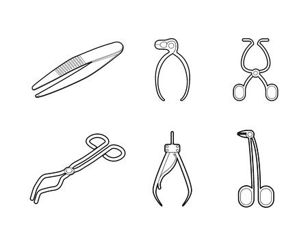 Conjunto de iconos de fórceps, estilo de contorno.